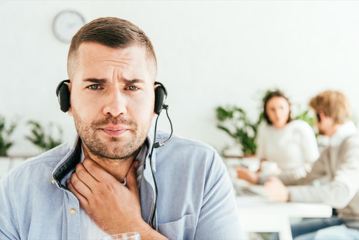 selective focus of broker with sore throat