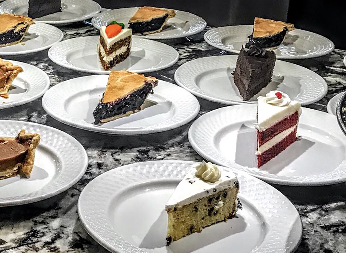 individual cake and pie slices at medley buffet in las vegas