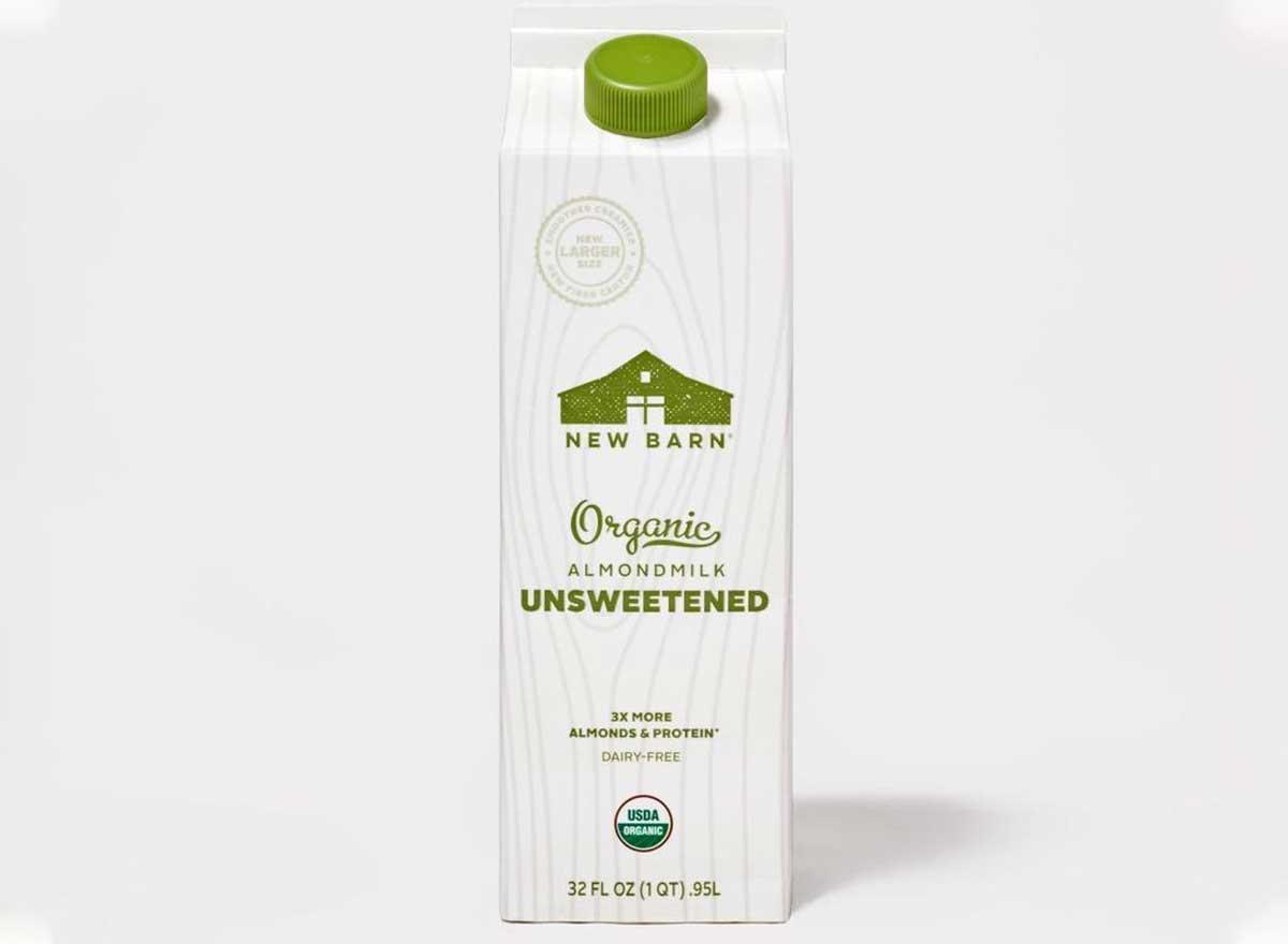new barn organic unsweetened almond milk