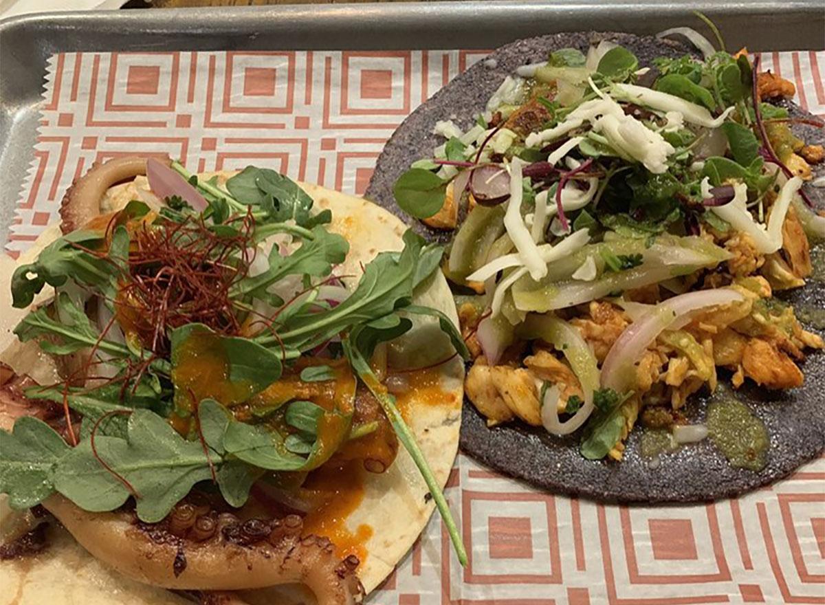 octopus and chicken chorizo tacos