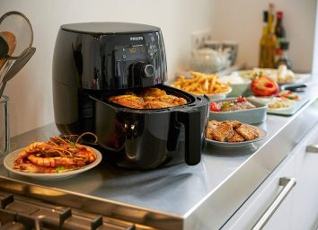 philips air fryer in use on counter