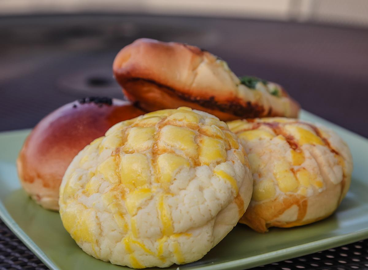 pineapple buns on plate