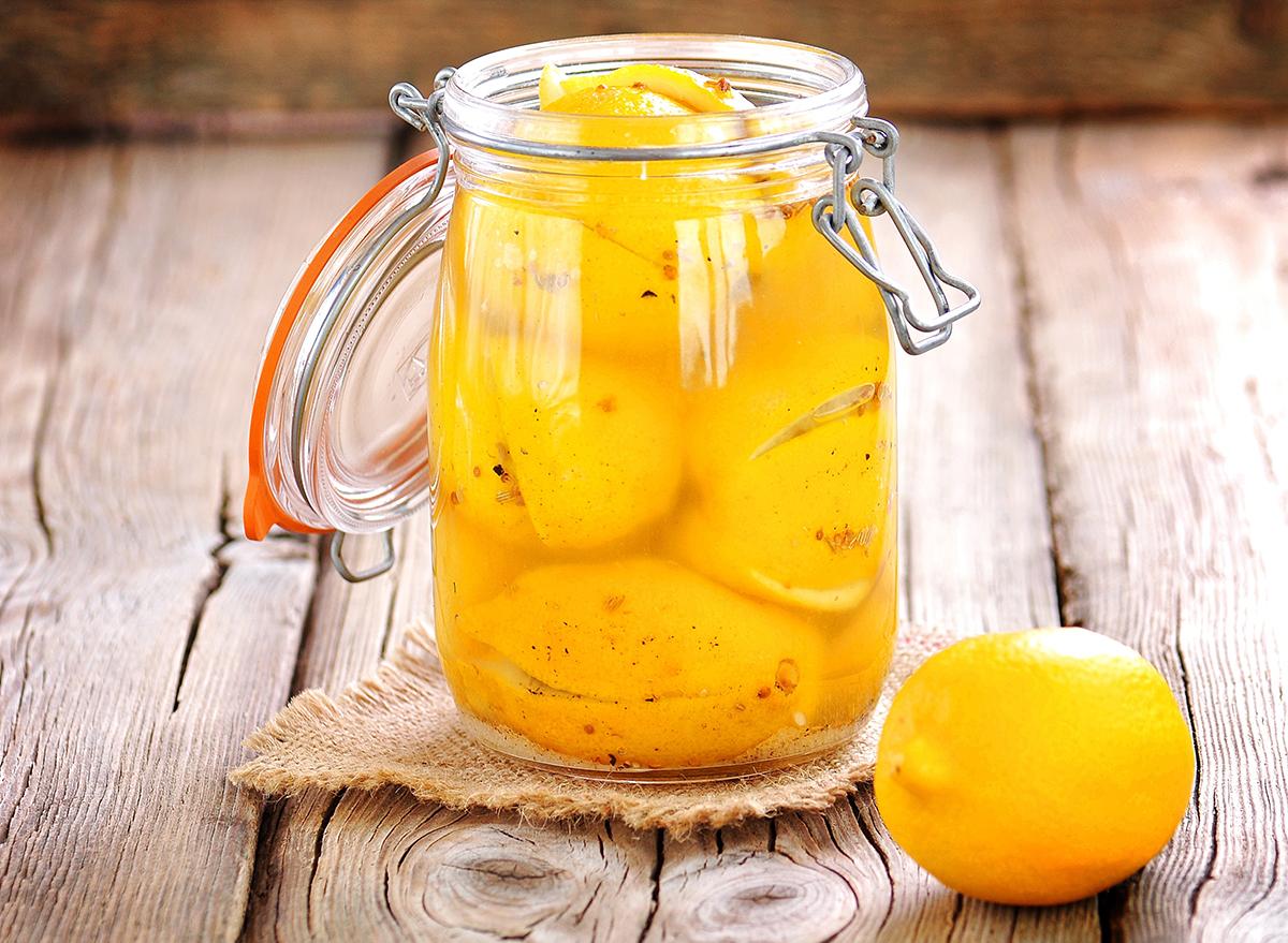 mason jar of preserved lemons