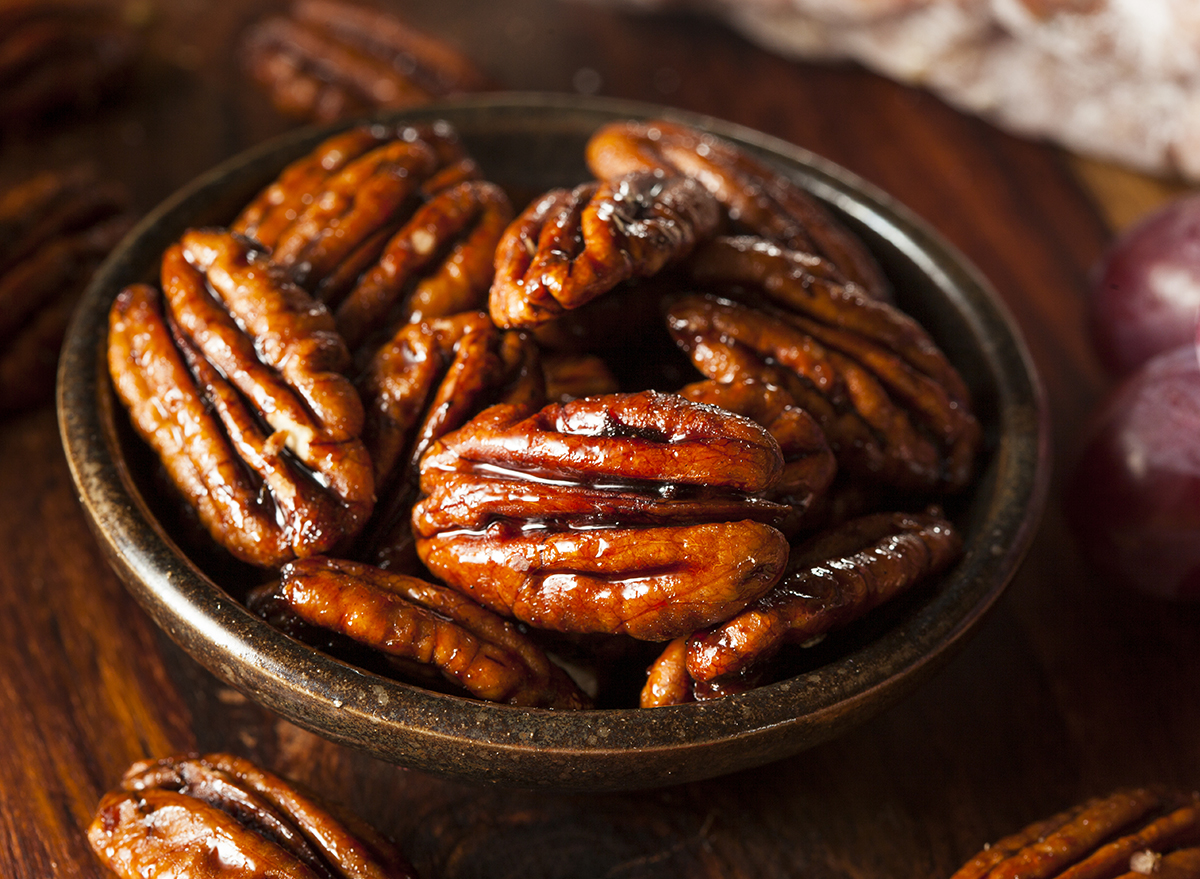 roasted pecans in bowl