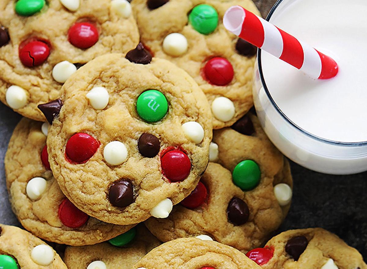 santa cookies with chocolate candies
