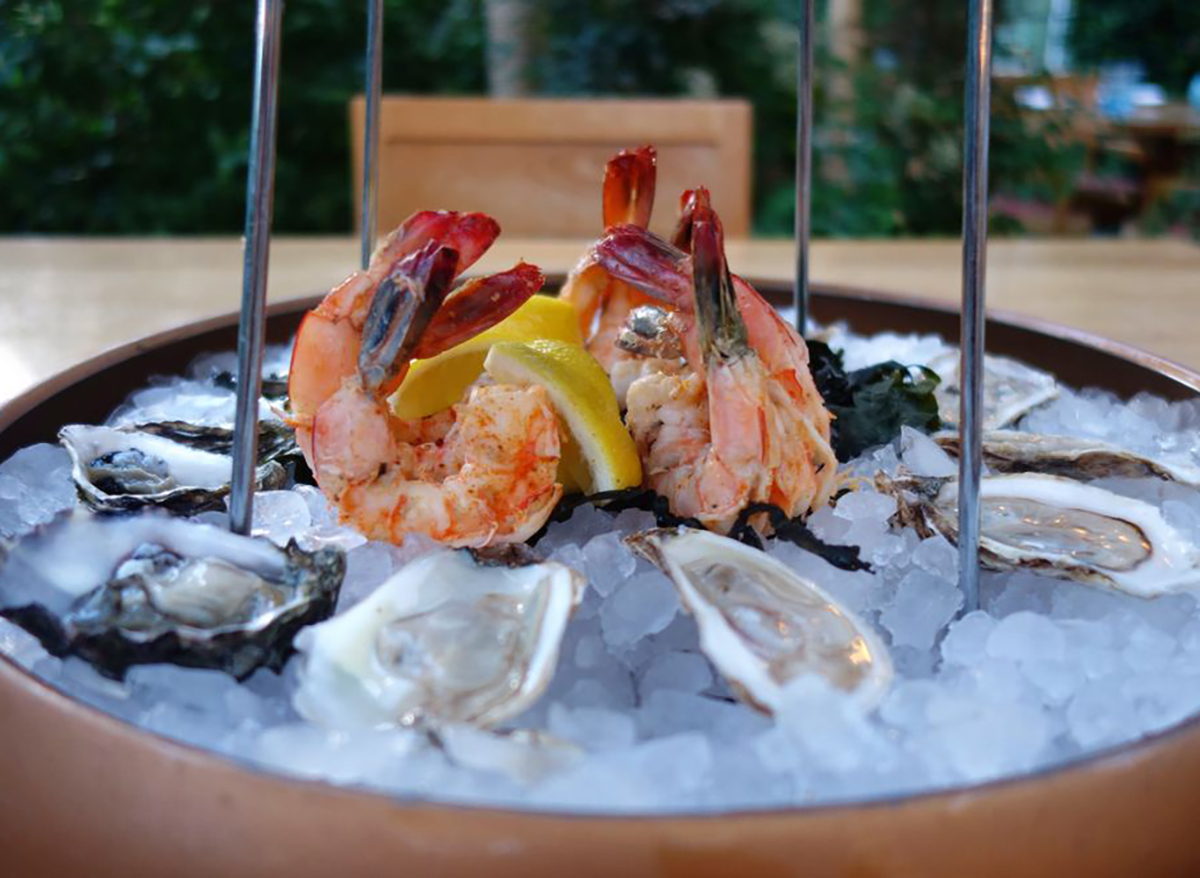 raw oysters and shrimp on ice from herringbone in las vegas