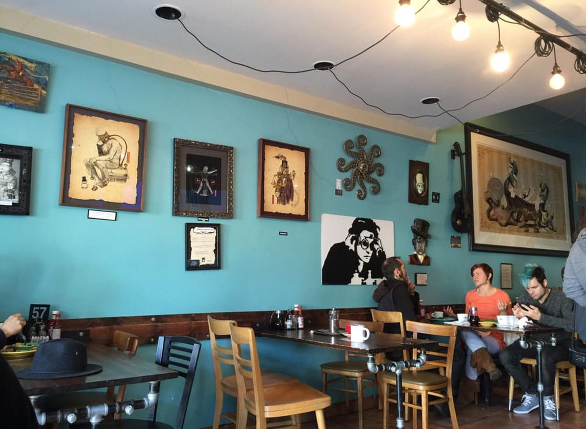 inside steampunk coffee shop in los angeles
