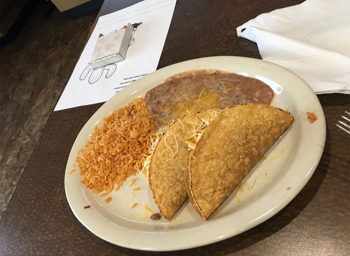 taco plate with rice and beans