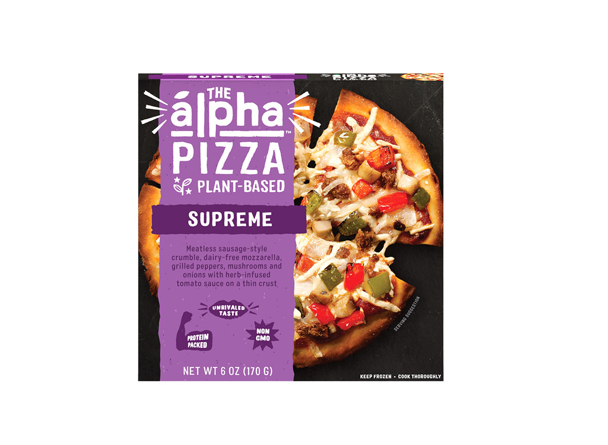 the alpha pizza supreme frozen meal