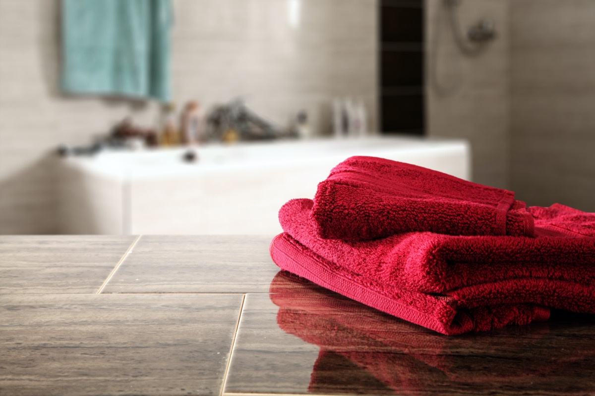 bathroom interior and towels of red