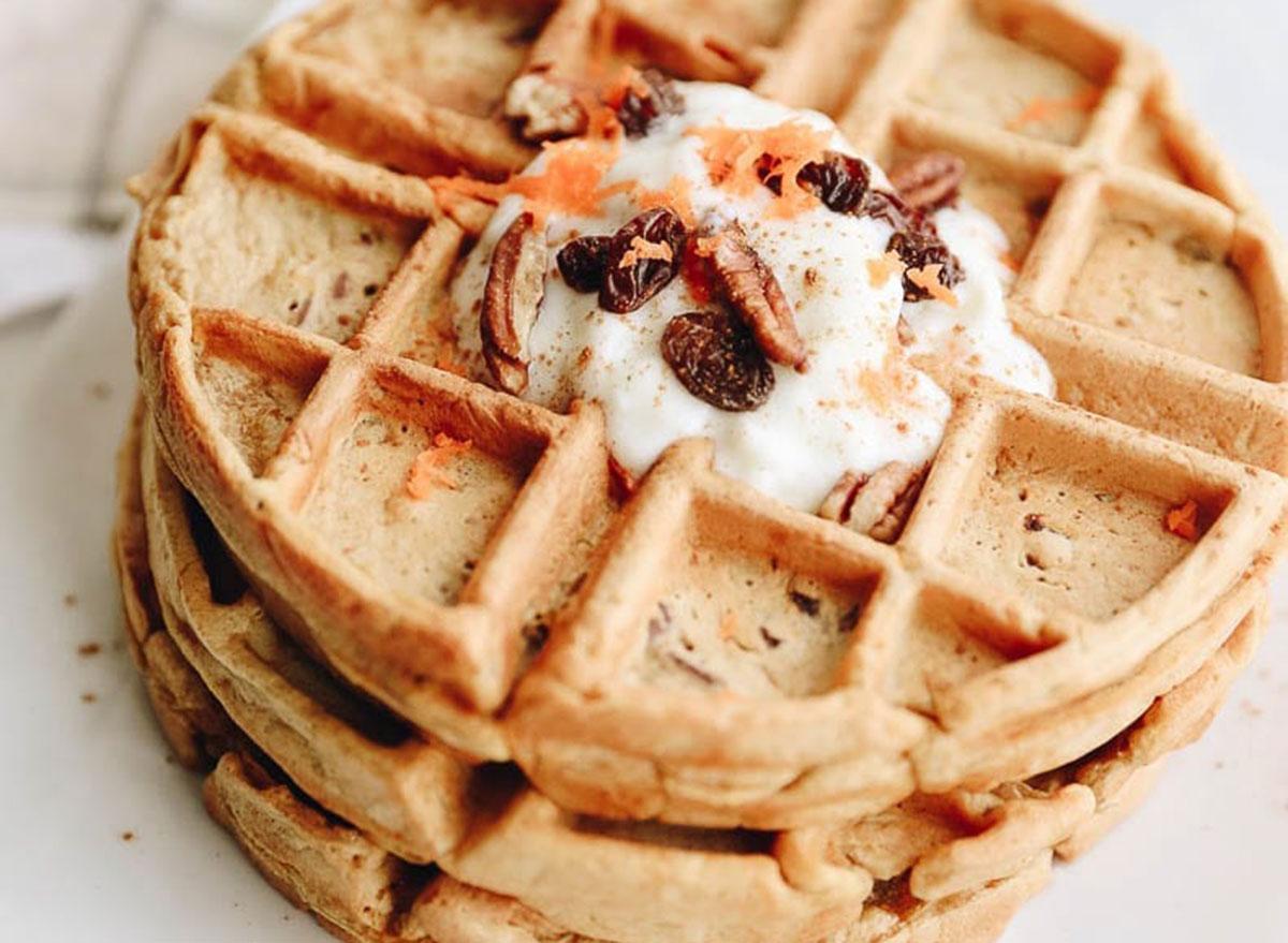 healthy breakfast for kids carrot cake waffles