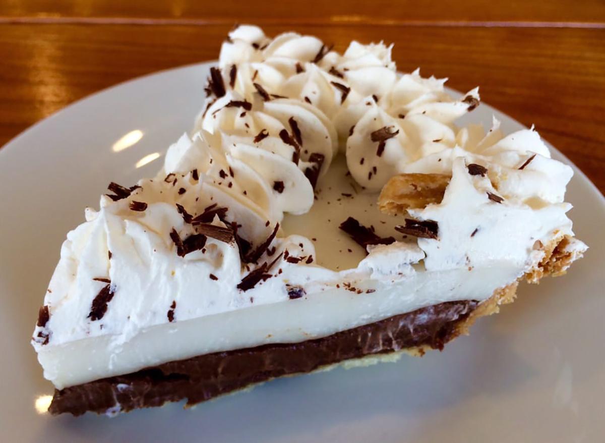 chocolate haupia pie slice