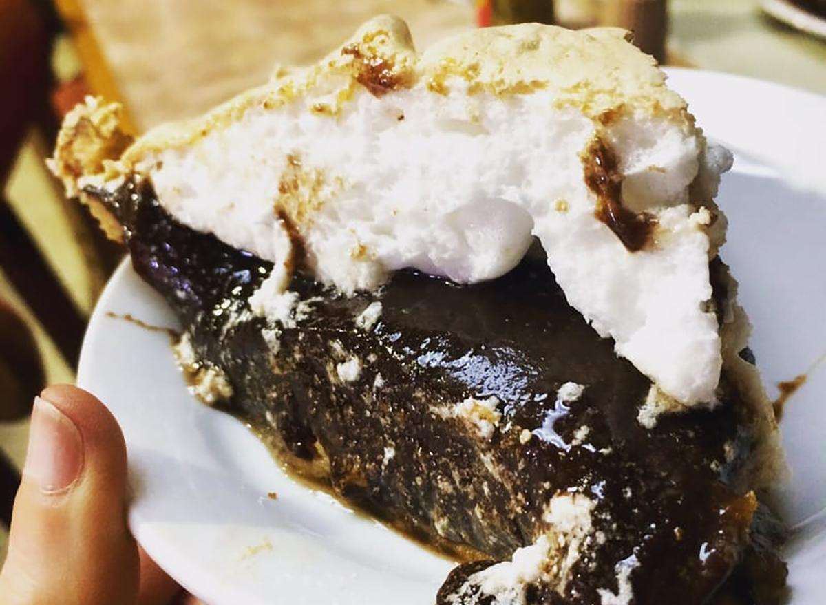chocolate pie slice with meringue