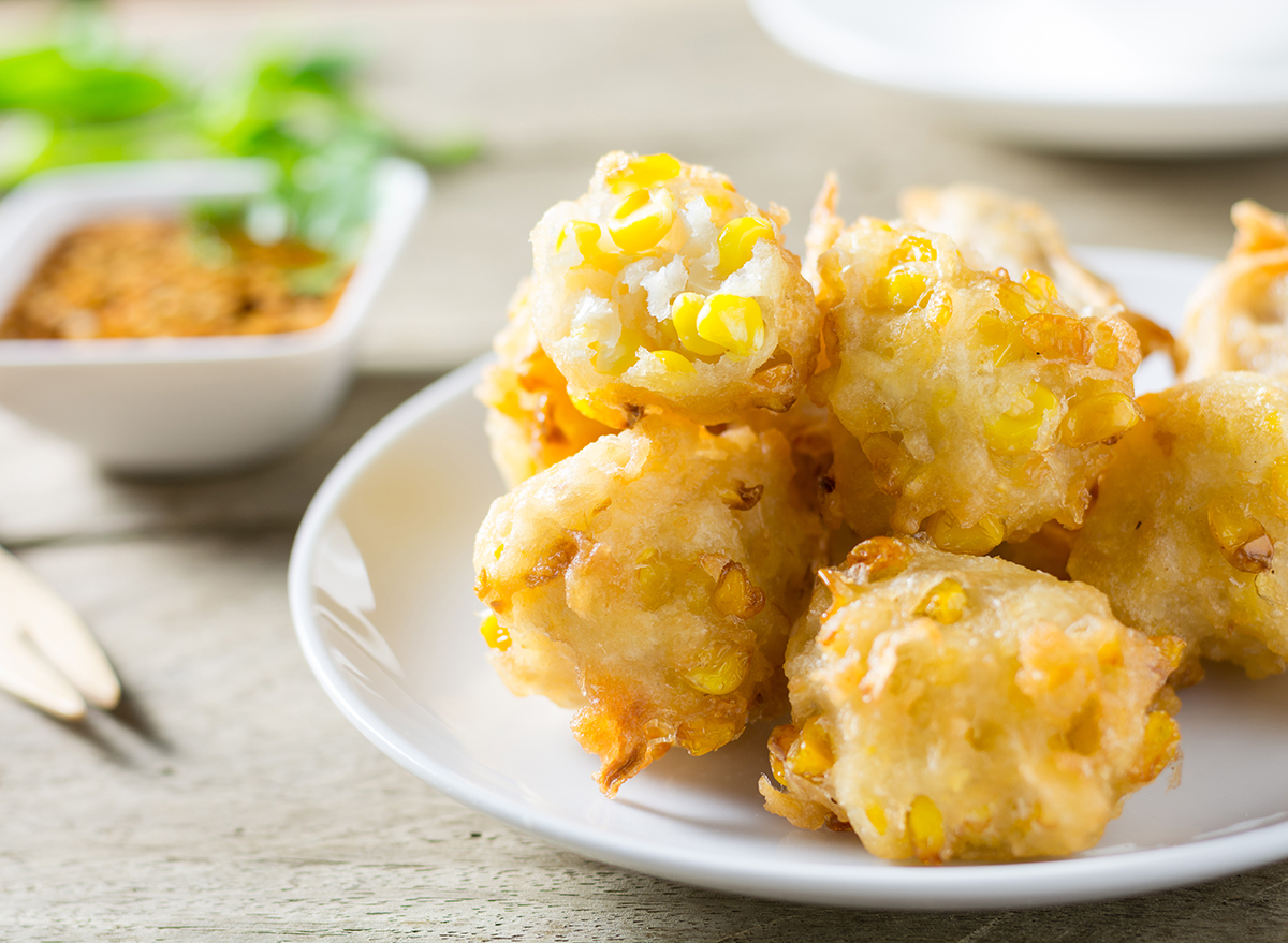 corn fritter balls with dip
