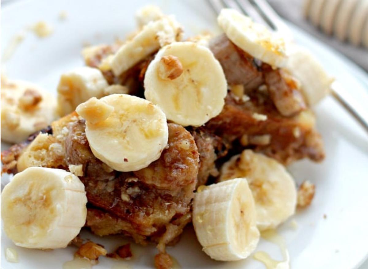 crock pot banana french toast on plate