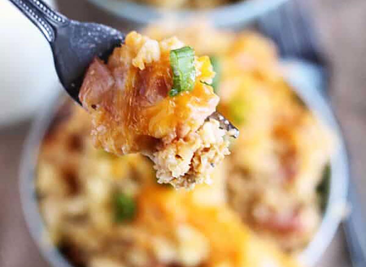 crock pot tater tot egg bake on fork