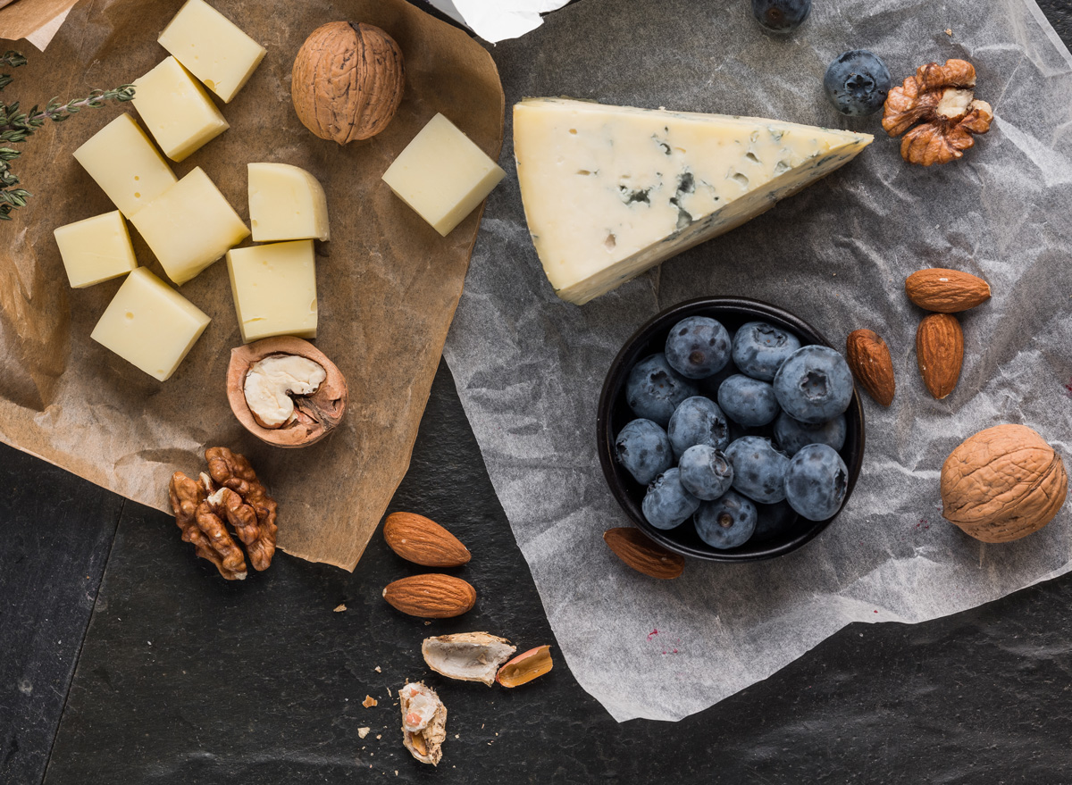 Cubed cheese blueberries walnuts almonds