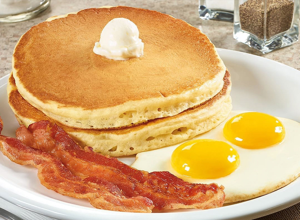 grand slam breakfast at dennys with pancakes bacon and eggs