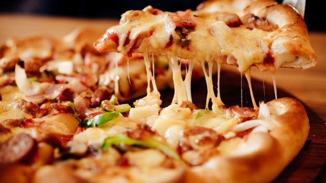 frozen loaded pizza cooked