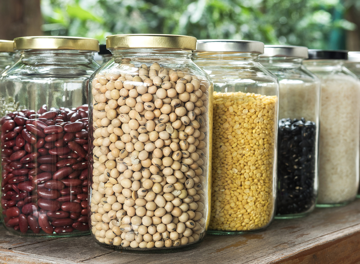 glass jars to store beans