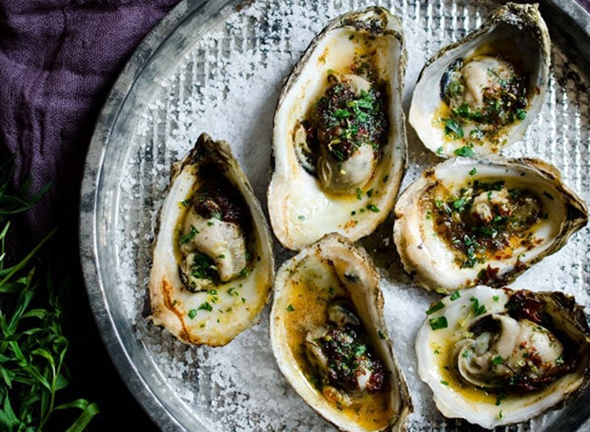 Valentine's day dinner grilled oysters