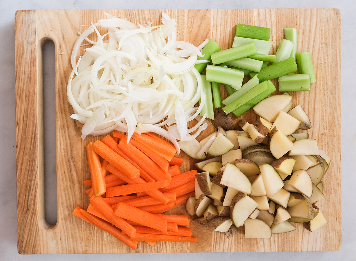 chopped vegetables for corned beef recipe