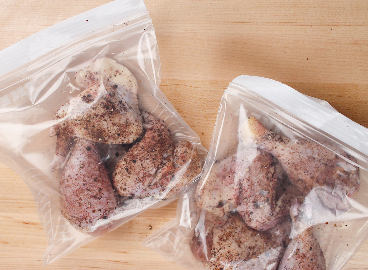 chicken with a dry brine in a plastic bag