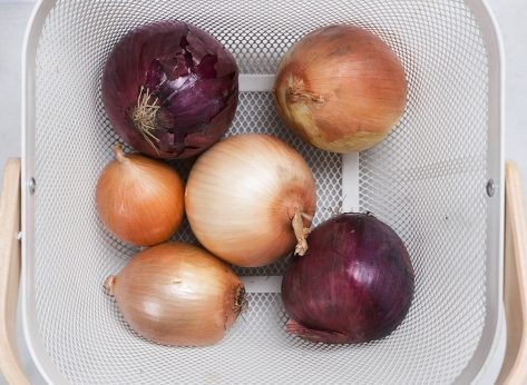 onions stored in a basket