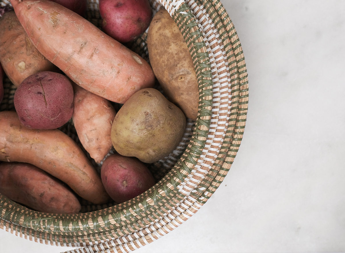 different types of potatoes in a basket
