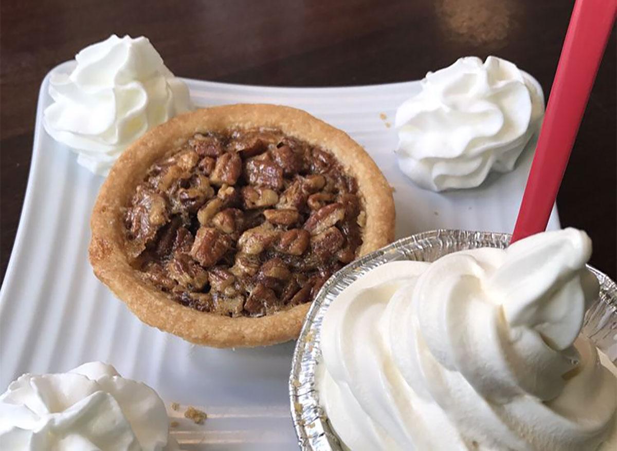 mini pecan pie with whipped cream
