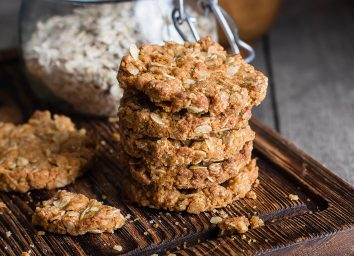 oat cookies in a stack