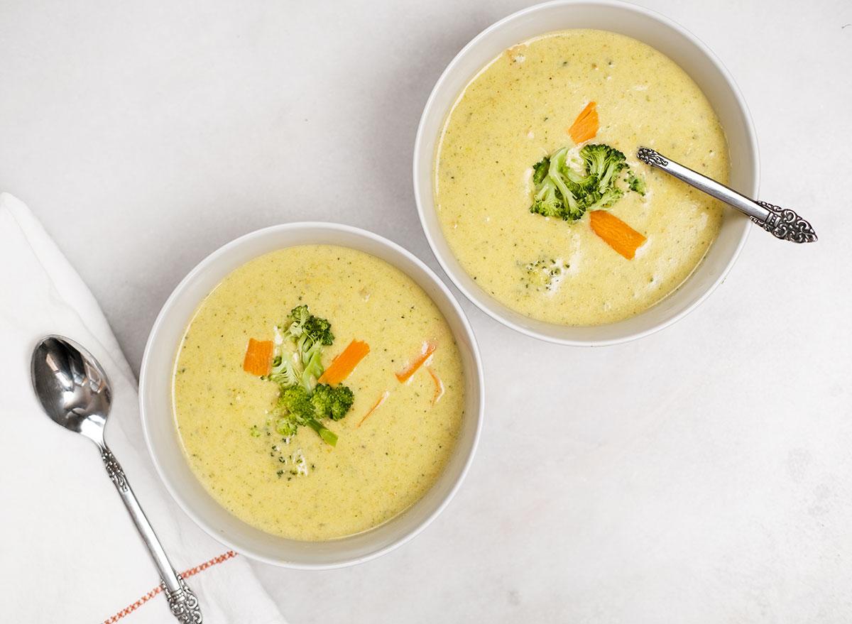 bowls of copycat broccoli cheddar soup