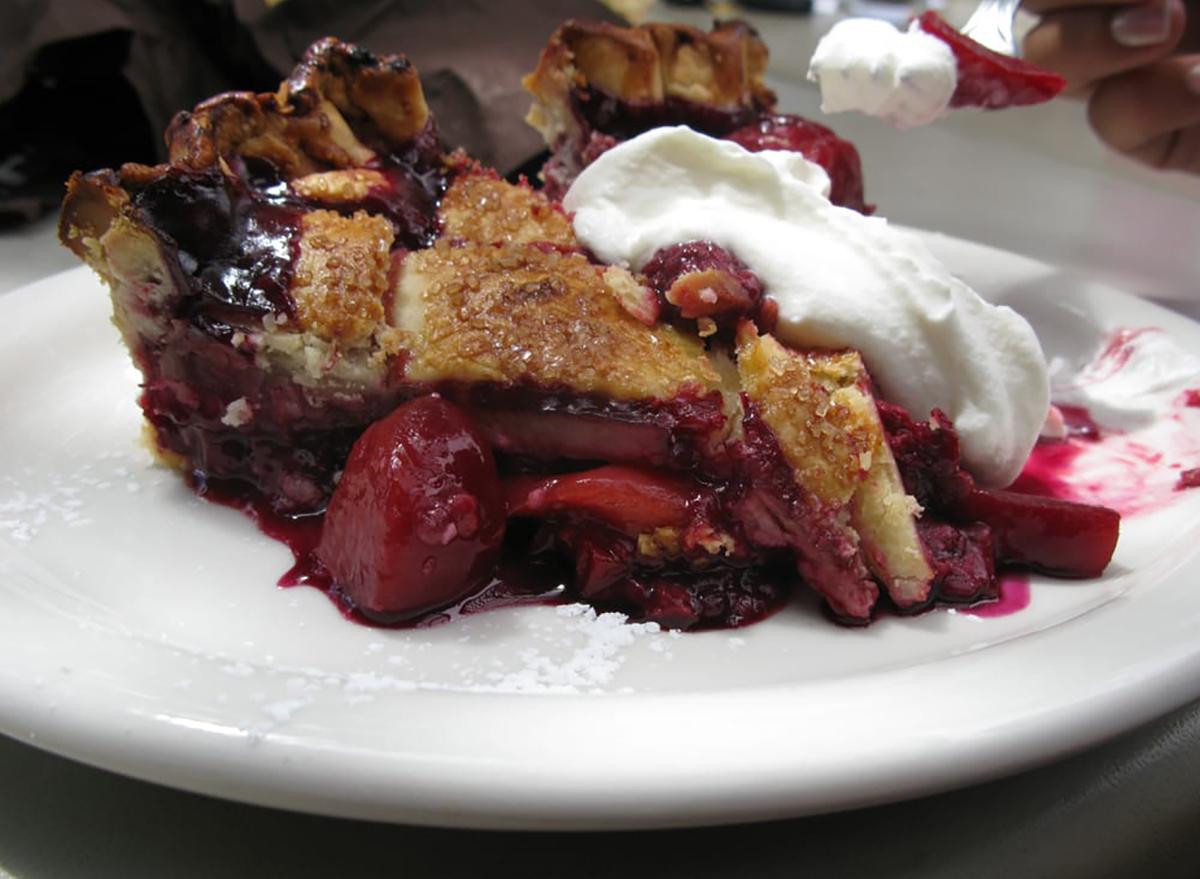 peach and blackberry pie slice