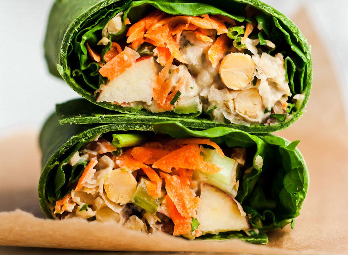 vegan pecan apple chickpea wraps with lettuce