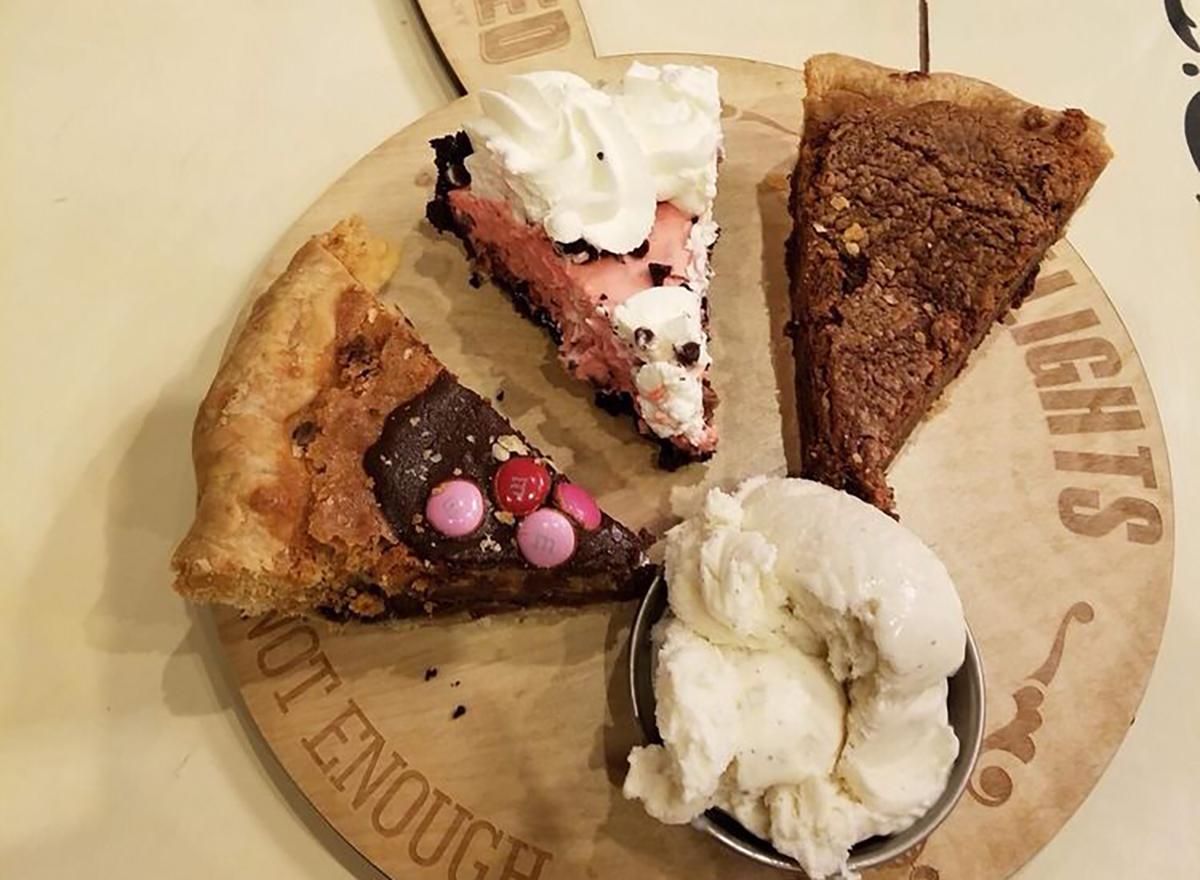 pie flight with three pie slices and ice cream
