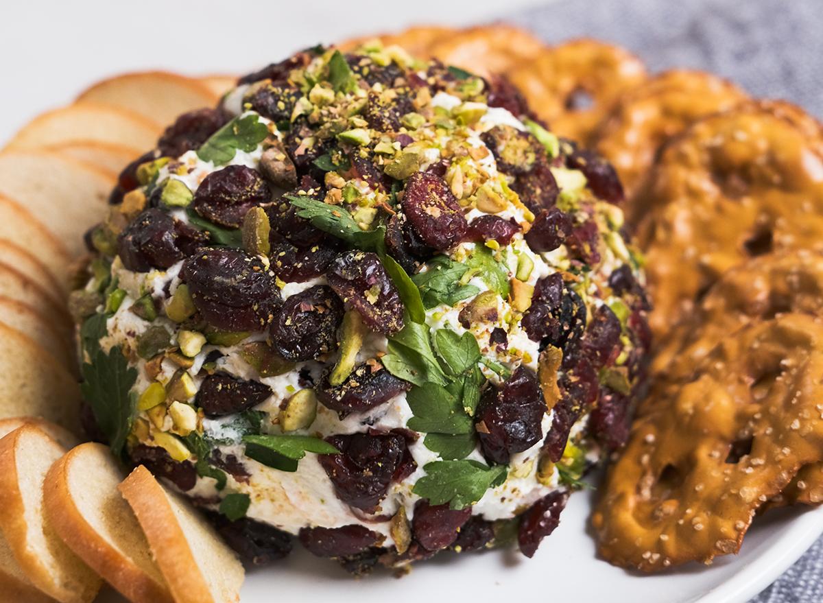 close up of pistachio cranberry cheese ball recipe