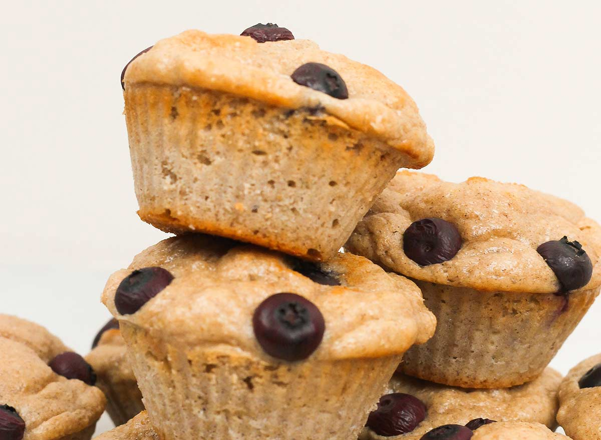 protein muffins stacked on top of each other