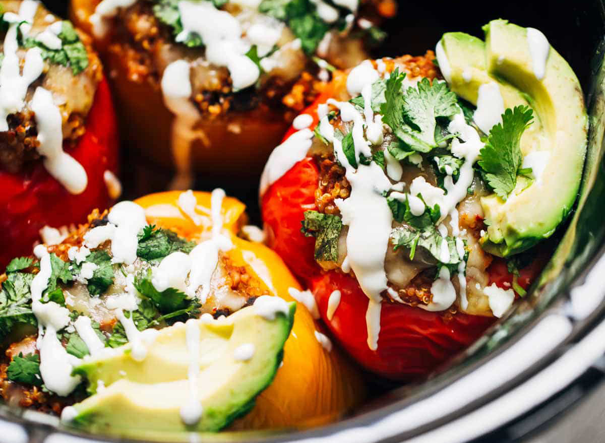 stuffed peppers with quinoa black beans cilantro and avocado in crock pot