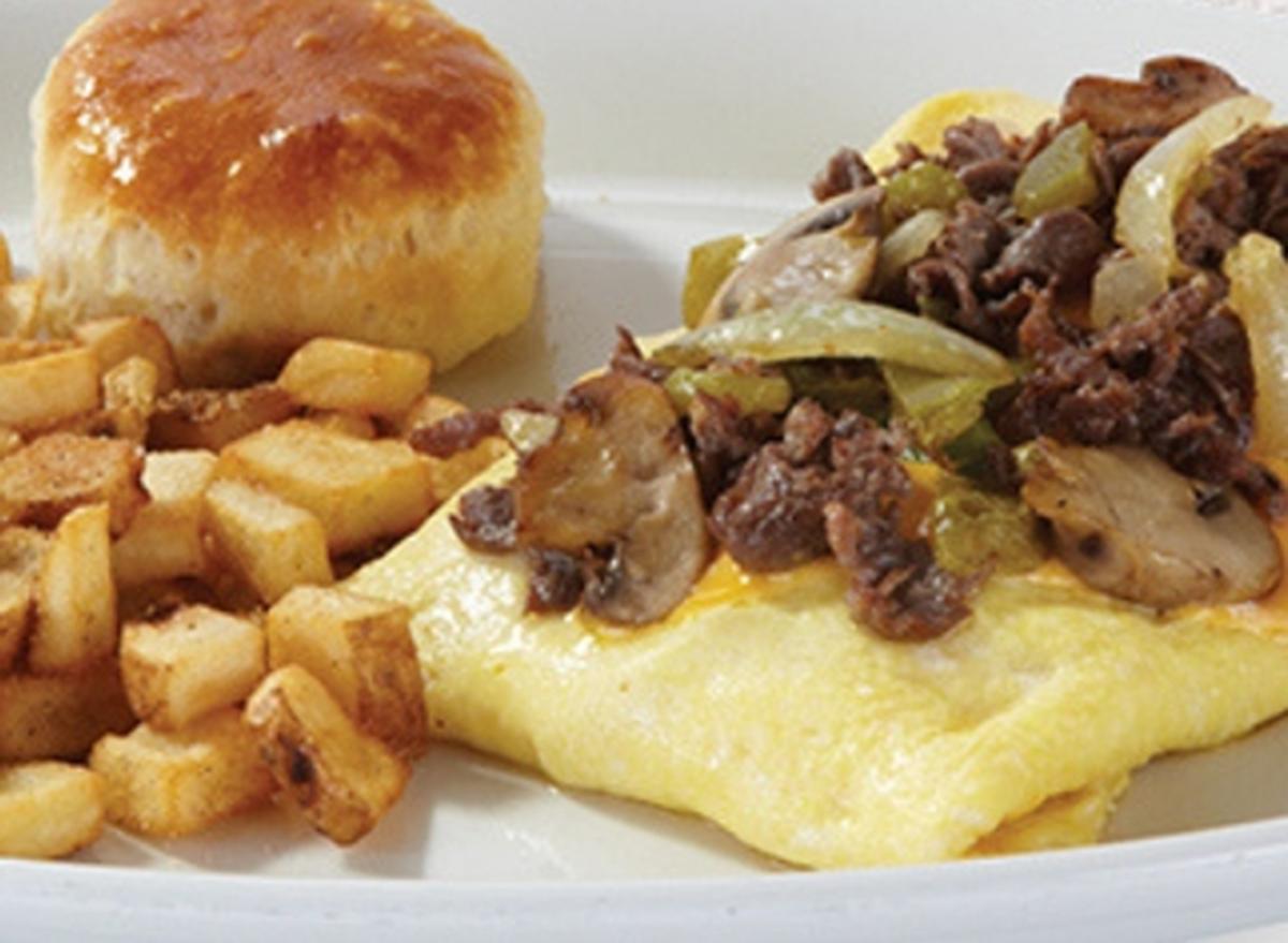 shoneys philly steak cheese omelet