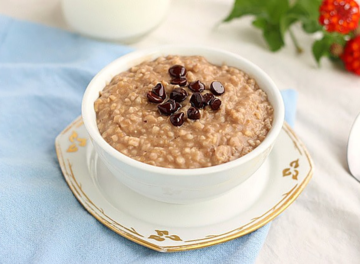 bowl of hot chocolate oatmeal prepared in slow cooker