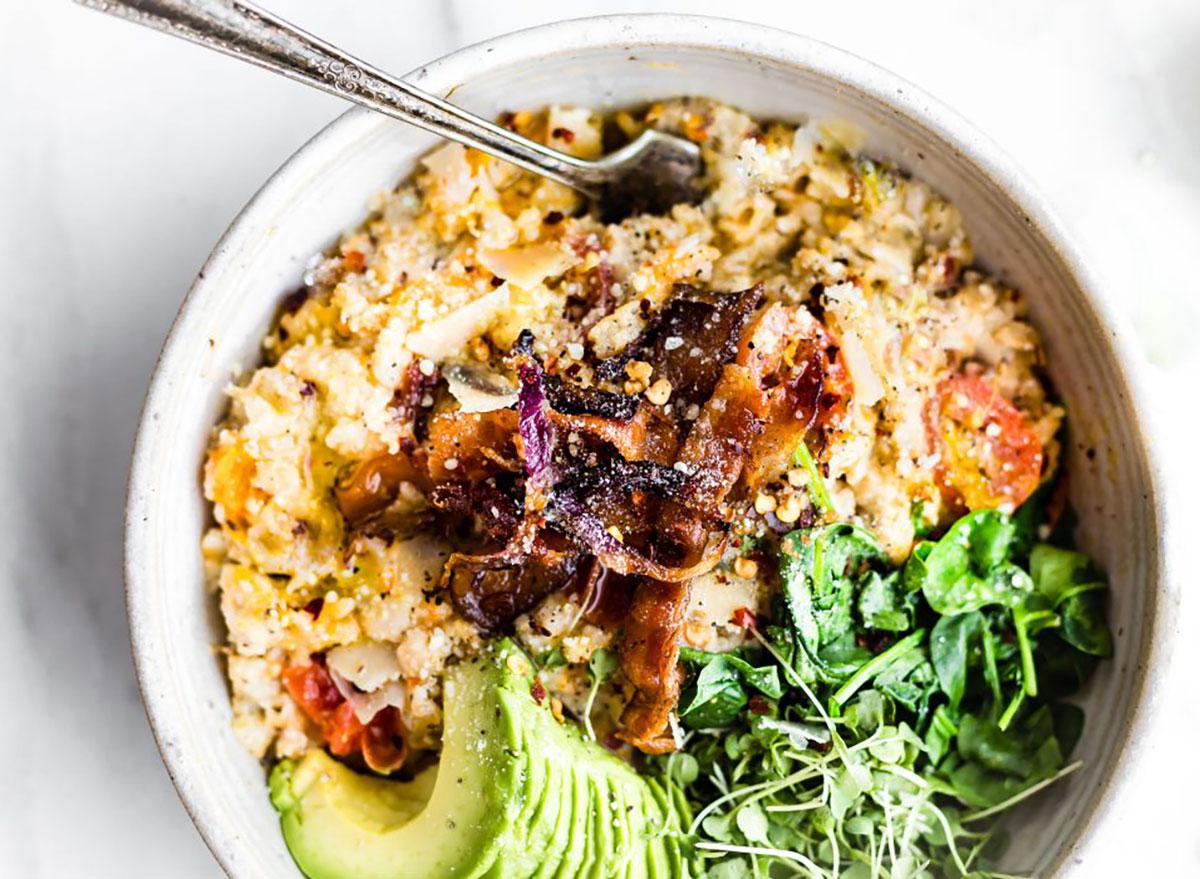savory oatmeal with bacon and avocado
