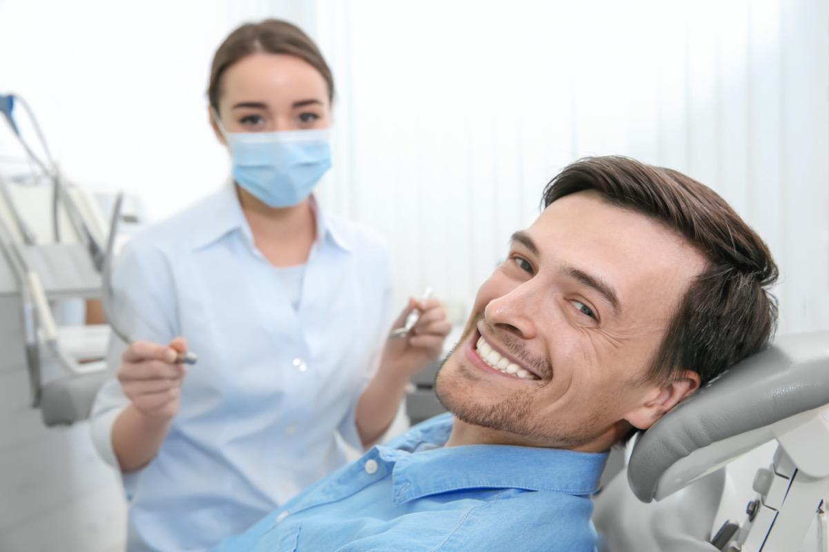 man at dentist's office