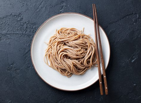soba noodles on white plate
