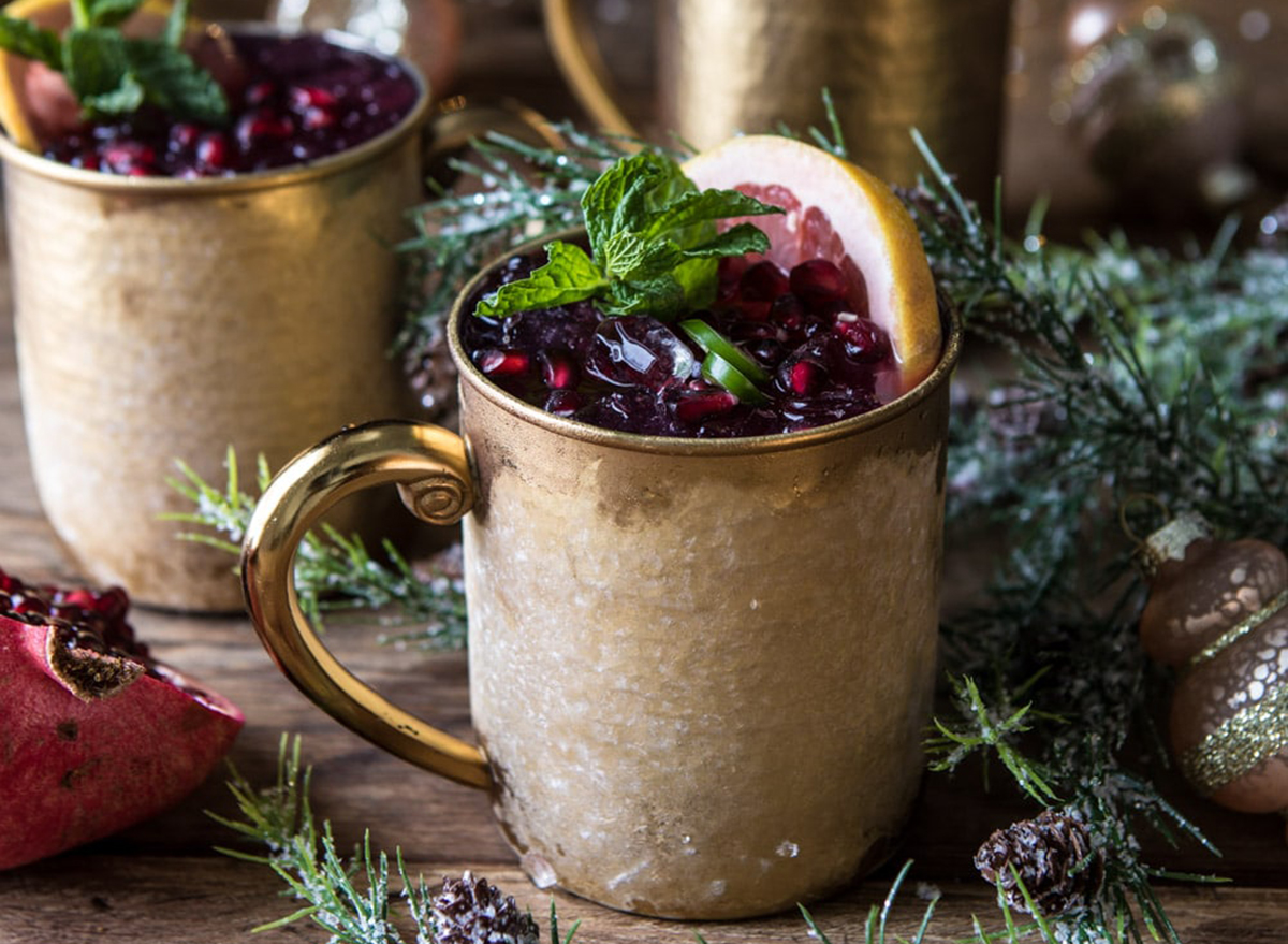 Valentine's day dinner spicy pomegranate moscow mule