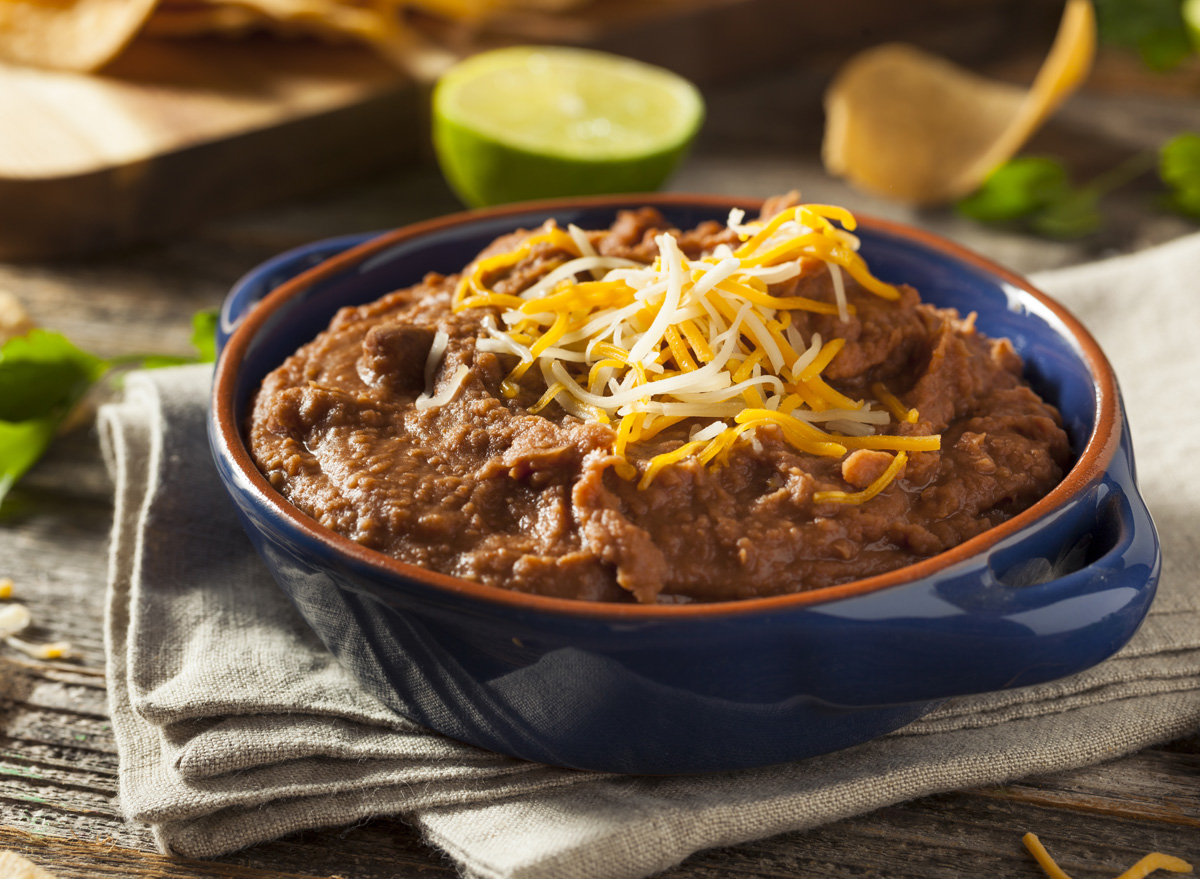 Spicy cheesy refried beans