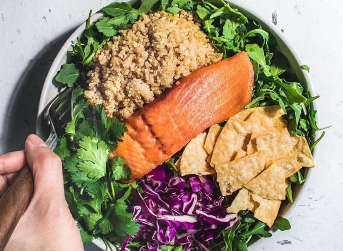 sweet green fish taco bowl
