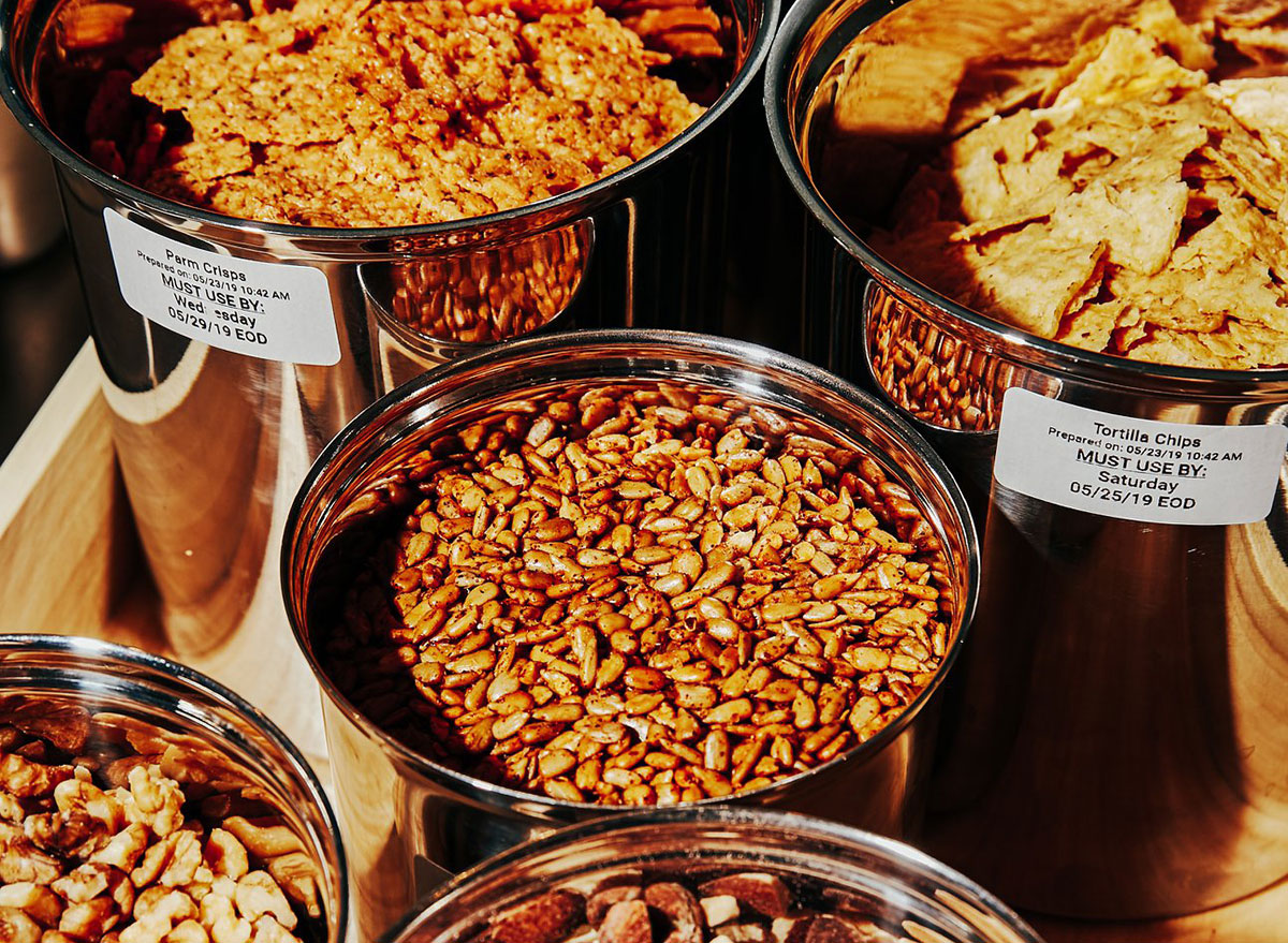 bins of starches to add to bowls at sweetgreen