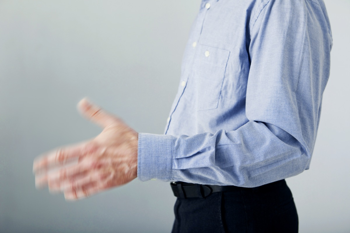 Man's hand with tremor