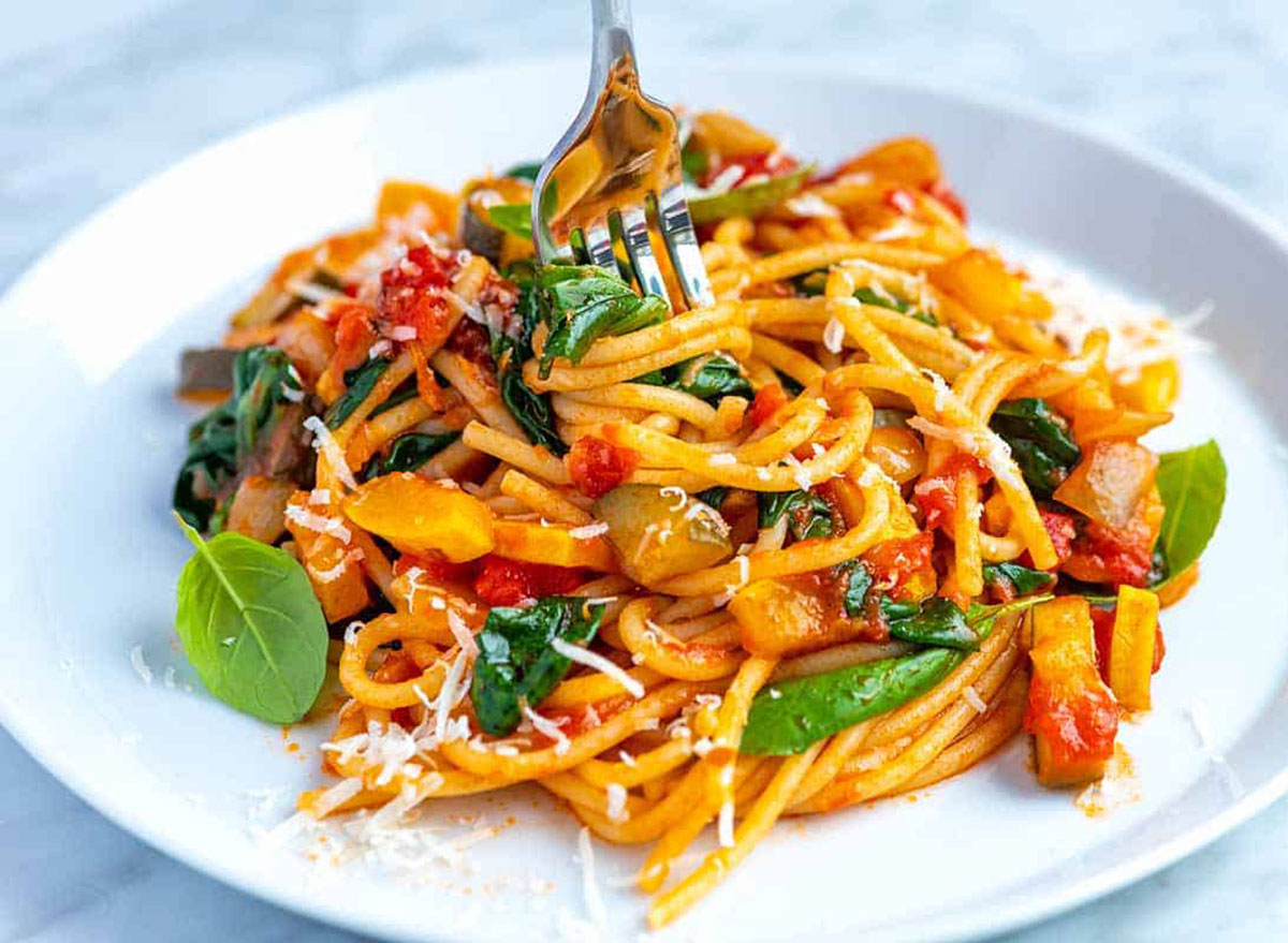plate of vegetable spaghetti