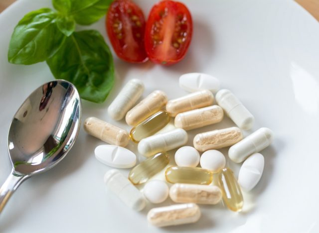 Dietary supplements, vitamins, plate